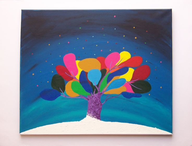 STROM PŘÁNÍ - akryl na plátně. * #ladylu #ladyluartist #malba #obraz #strom #acrylic #home #interior #painting #modra #blue #wish #fineart #art #umeni #ladyluart