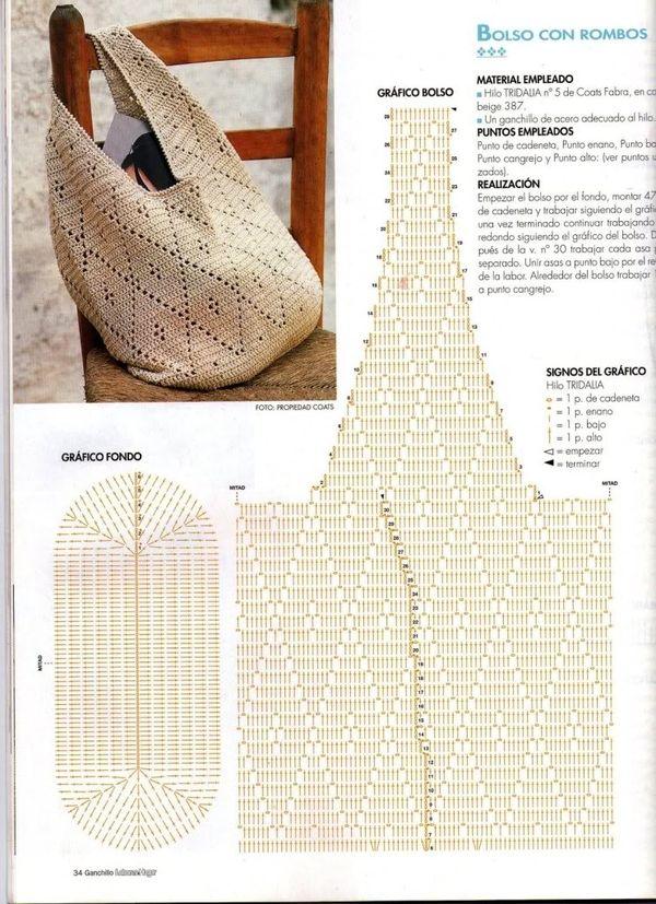 Dulce arteonline: Linda e casual bolsa de crochê com gráfico Mais