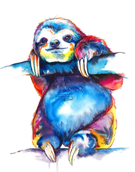 Colorful SLOTH Art – Print of original watercolor painting – bright rainbow decor (FREE Shipping)