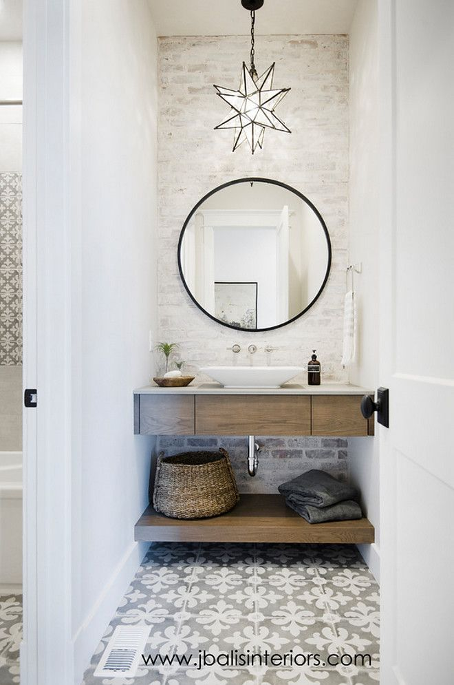 Farmhouse Bathroom with freestanding vanity, cement tile and painted brick wall. Farmhouse bathroom #farmhousebathroom #farmhouse #bathroom Judith Balis Interiors. - LOVE THE GORGEOUS FLOOR TILE! ♠️