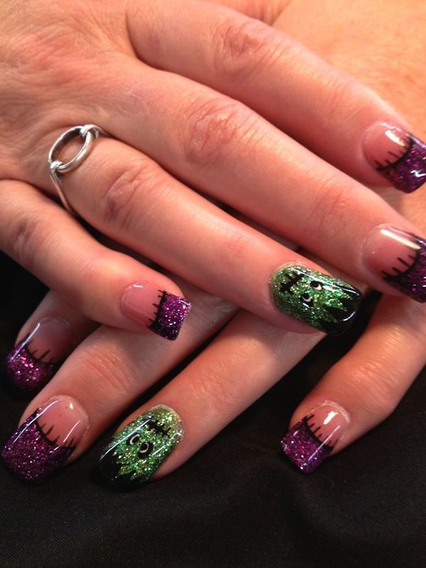202 best nail images on pinterest cute easy nail designs cute nail art ideas frankenstein prinsesfo Images