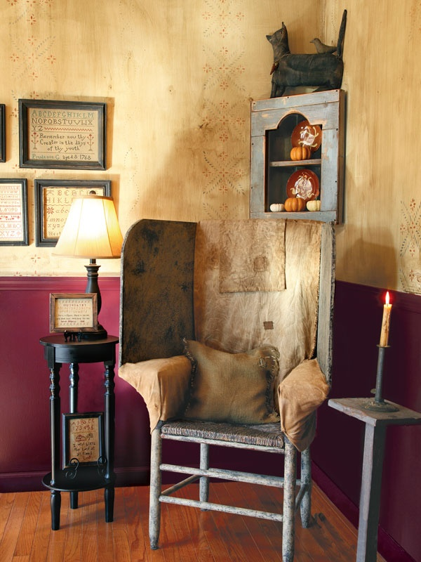 Here's another Primitiques' Original Designed Make-Do Chair with Wooden Wings as depicted in the Fall 2012 issue of Country Sampler Magazine in one of our customer's homes