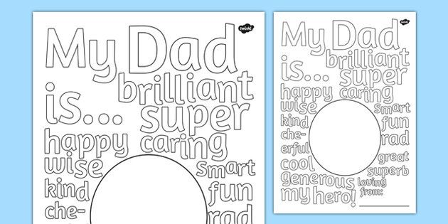 Father's Day Describing Words Drawing and Colouring Sheet - fathers, day, words…