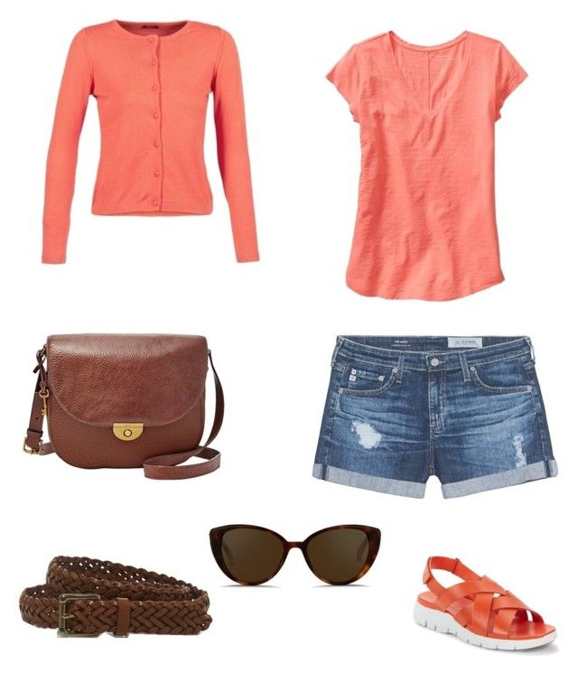 """""""Summer walk"""" by wardrobepieces on Polyvore featuring Cole Haan, AG Adriano Goldschmied, L.L.Bean, Linda Farrow and FOSSIL"""