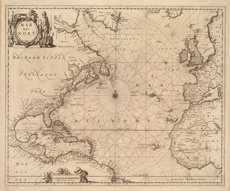 1650 carta náutica del Atlántico | Etsy