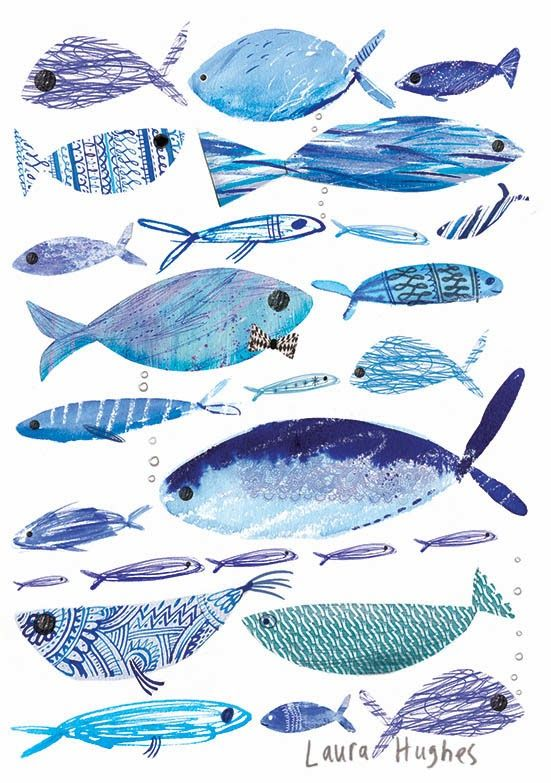 Laura Hughes. -- fish blue, drawing painting watercolor sketch art inspiration ocean fishes