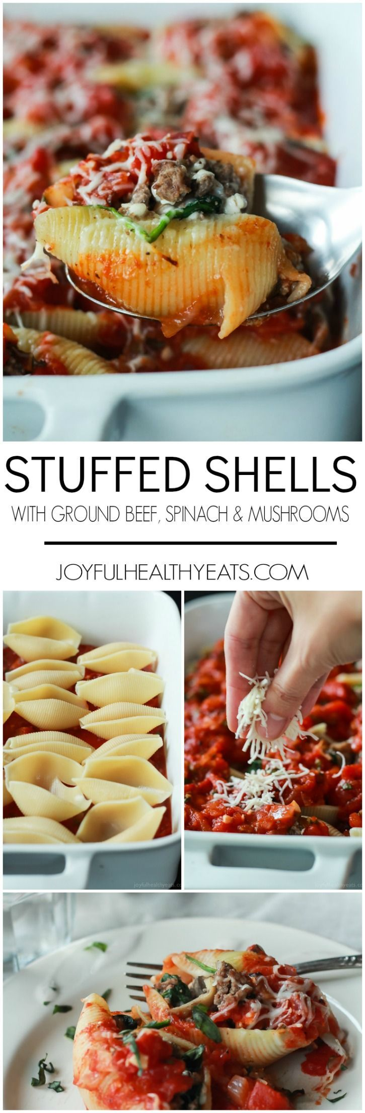 An easy Stuffed Shells recipe with ground beef, spinach, and mushrooms then topped with a homemade marinara sauce - all for only 223 calories per serving! | joyfulhealthyeats... #recipes