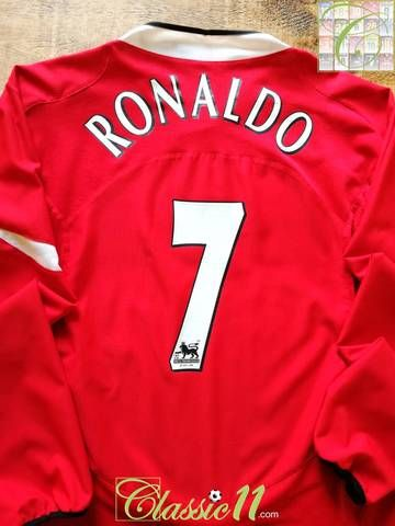 a871a59b0ca Official Nike Manchester United home long sleeve football shirt from the  2004 05 season. Complete with Ronaldo  7 on the back of the shirt in  official ...