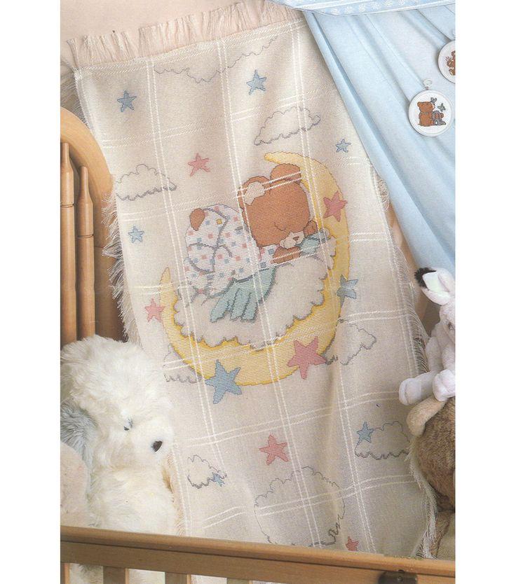 "Sleeping Teddy Bear Baby Afghan Counted Cross Stitch Kit - 29""X45"" 18 Cnt"