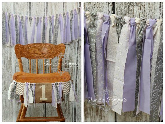 SET Purple Grey White Highchair 1st / First Birthday Fabric Strip Banner, Newborn Photography Banner, Rag Garland, Fabric Strips
