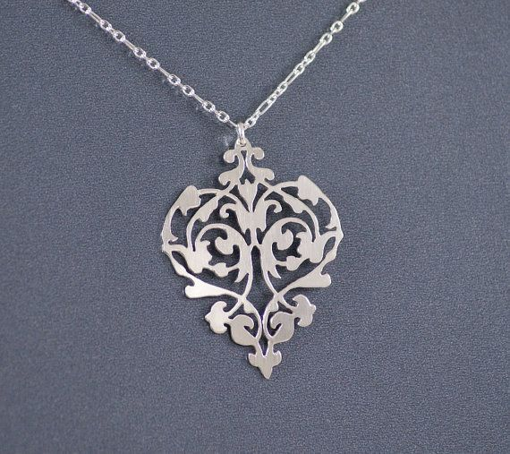 Intricate Heart - Sterling Silver Hand Cut Pendant, Sterling Silver Necklace