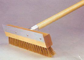 """Pizza Oven Brush with 48"""" Handle by Allied Metal. $49.99. An invaluable tool for cleaning pizza ovens Brush has brass bristles on one side and a hard aluminum scraper on the other side"""