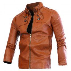 Slimming Rib Spliced Button and Epaulet Design Stand Collar Long Sleeves Locomotive PU Leather Jacket For Men (BROWN,L) | Sammydress.com Mobile