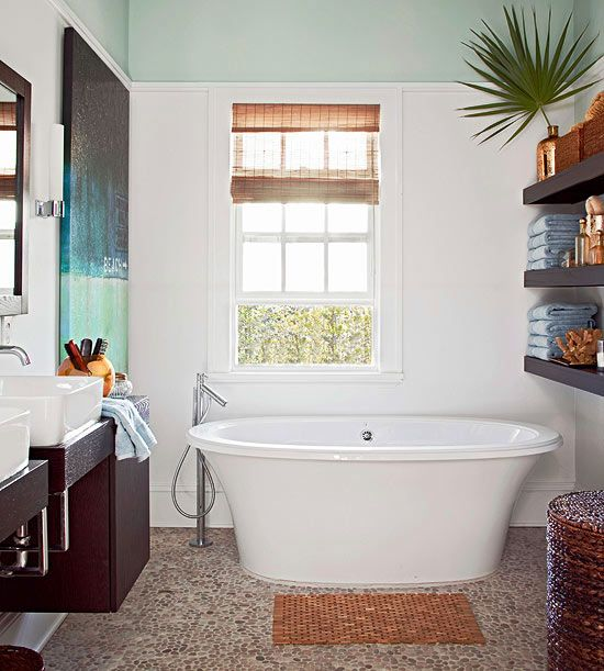 We love the look of mixed textures in the neutral bath! See the rest of this cottage home: http://www.bhg.com/decorating/decorating-style/cottage/modern-cottage/?socsrc=bhgpin041213naturalbath=6
