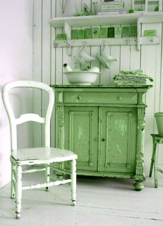 Country Style Green And White Kitchen This Is So Pretty
