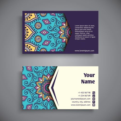 Ethnic pattern with business cards vector 02