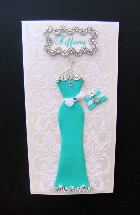 Tiffany Personalized Dress Card / Handmade Greeting by BSylvar, $19.00, Classy