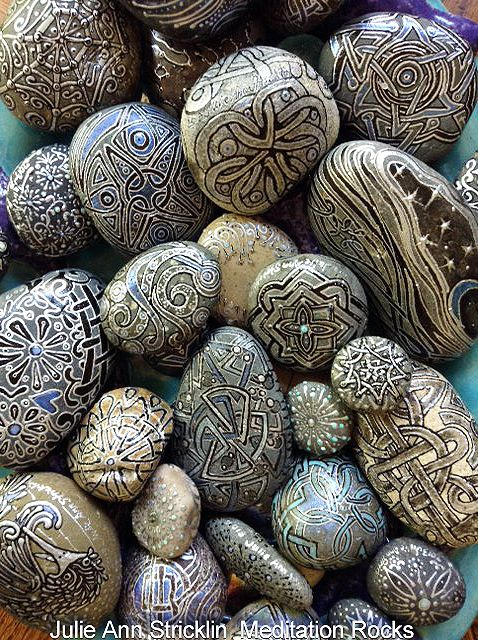 Meditation Rocks hand painted by artist Julie Ann Stricklin