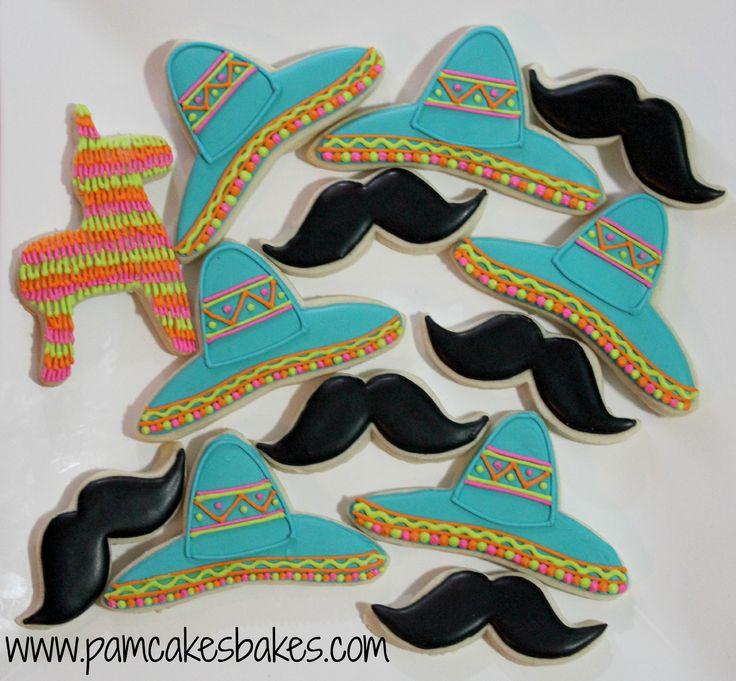Sombrero, mustache, & pinata cookies