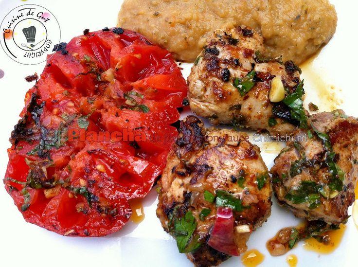 Plancha de filet mignon sauce chimichurri assiette