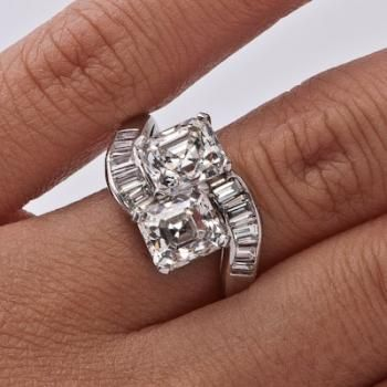 Asscher Bypass Ring. 2.04 and 1.90ct with .50tcw baguettes.