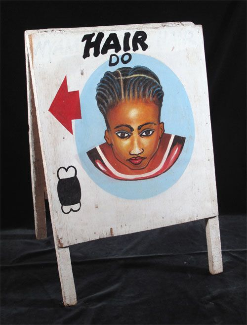 "HAIR DO Sandwich board-style Hairdresser Sign (#bs-367) Kumasi, Ghana, c.2008 Oil paint on plywood with wood frame - two panels (33 1/2"" x 22"")"