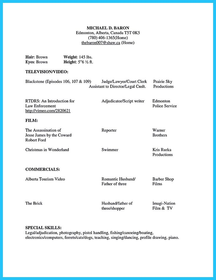 the 25 best acting resume template ideas on pinterest resume - Actor Resume Template