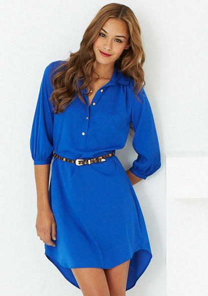 Cute. Woven hi-lo shirt dress with functional buttons. Belt not included.