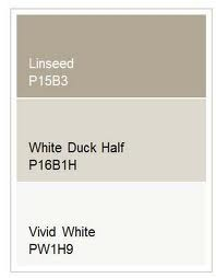 Internal Wall Colour - Dulux Linseed - Half Strength. Bathroom/Ensuite Wall Colour - Dulux Vivid White