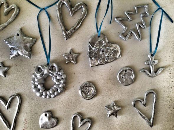 salt dough ornaments, silver spray paint, christma…