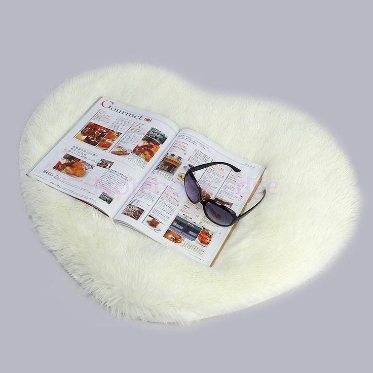 Heart Fluffy Rug Anti-Slip Shaggy Rug Room Bedroom Carpet Floor Mat Beige