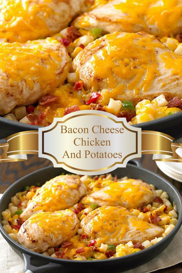 Chicken and Potatoes with bacon adds flavor and cheddar cheese melts on top for ooey-gooey goodness.  This one pan casserole is easy to make for your family dinner.   From cooking to serving in less than 30 minutes.  #recipe #dinner #chicken #bacon #cheese #potatoes #easyrecipe #easy #onepan