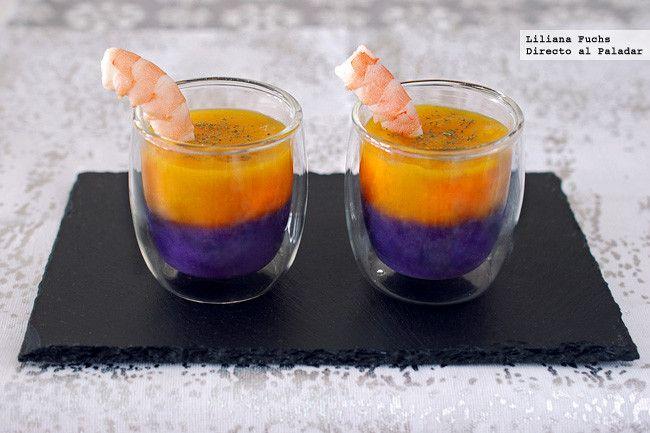 Receta de vasitos de cremas bicolor con langostinos. Con fotografías del paso a paso, consejos y sugerencias de degustación. Recetas de aperitivos. Navidad