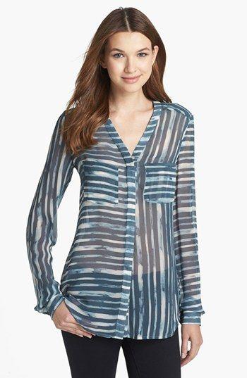 blusa de gasa manga larga de cualqueir estampado o color