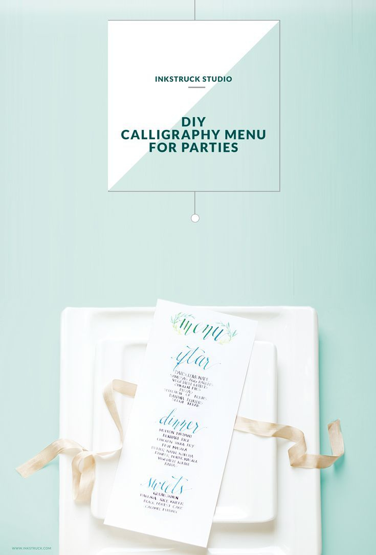 Create a pretty DIY calligraphy menu that can be used for weddings