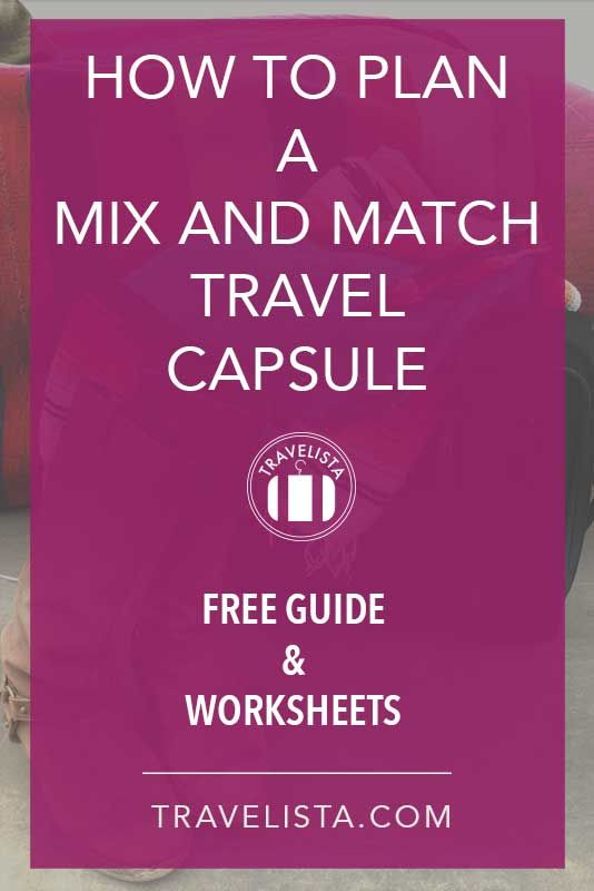 If you feel overwhelmed by packing, check out this guide on how to plan your Mix and Match Travel Capsule. Download the Guide to get the Free Travel Capsule Planner worksheets to help you pack light and plan all your travel outfits.