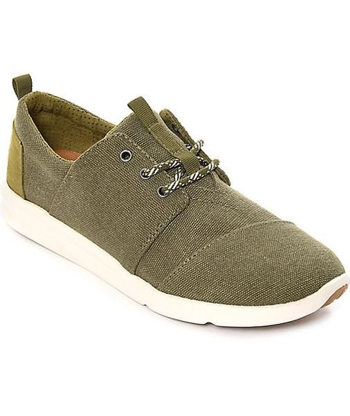 Duck & Dressing | TOMS Del Rey Olive Washed Canvas Shoes