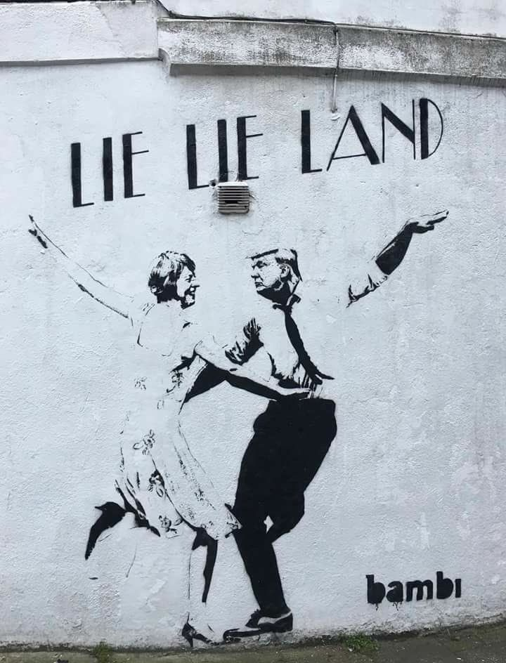 Lie Lie Land. Trump, by Banksy. #chillout #relaxation drink #hiphop #lifestyle #cool #bucket list #world #skate #music #chill #relax #inspiration #product #made in Japan