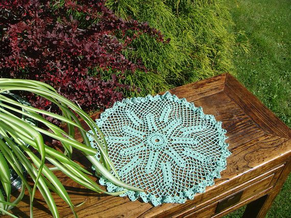 Vintage Crochet Doily Round Table Decoration Central Flower