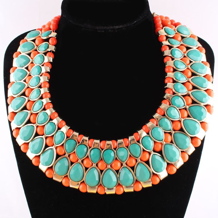 **Sold Out** Orange/Green Acrylic Beads Collar Statement Necklace, $50