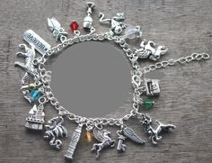 Harry Potter! 11 charms are included on this delightful charm bracelet. Includes Horcrux, lightning bolt, sorting hat, Always charm, etc. 8 inches long with lobster clasp Interspersed with red, blue,