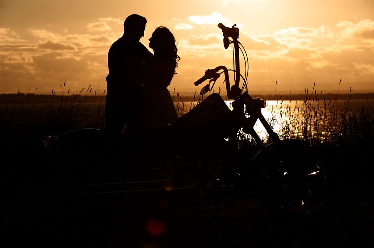 Beautiful Engagement Silouette photo with a Harley.. http://www.bradwedgewoodphotography.com