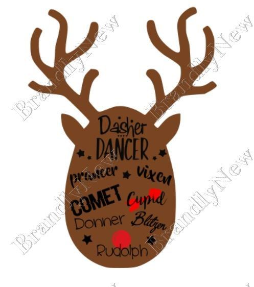 Download Reindeer Names Reindeer Head Design / SVG - PNG - JPEG ...