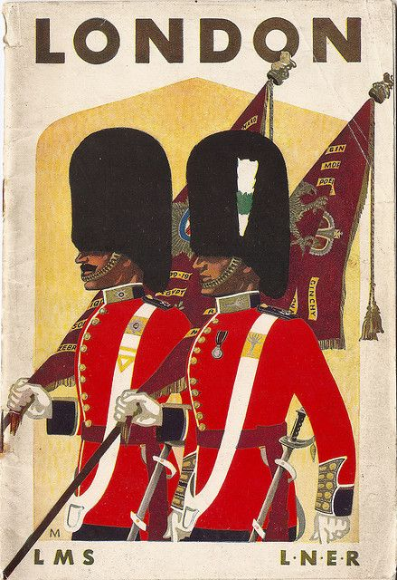 London - LMSR/LNER travel brochure - 1937  Irish Guards (four buttons on tunic)