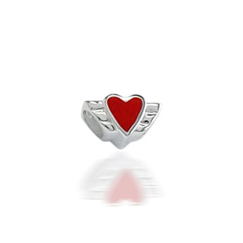 Angel Wings 925 Sterling Silver Heart Bead Troll Chamilia Pugster Compatible