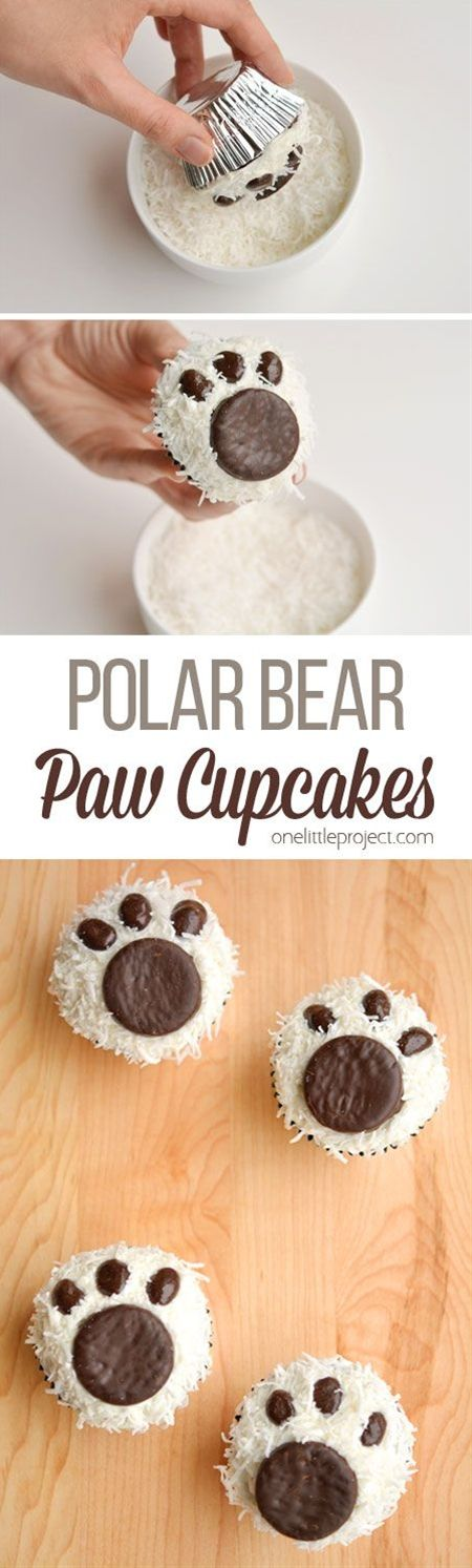 These polar bear paw cupcakes are easy to make and they look ADORABLE! They'd be great for a Christmas party, teddy bear picnic, or as a fun winter treat!\n\n Here's what you'll need for these cupcakes:\n Vanilla or Buttercream Frosting\n Coconut Flakes (I used plain unsweetened coconut)\n York Peppermint Patties\n Dark Chocolate Covered Raisins\n Chocolate Cupcakes\n