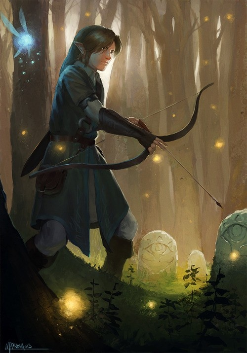 """Legend of Zelda - Link by Cameli36. If I were to give this place a name, it would be """"Sheikah Hollows."""" Pretty cool."""