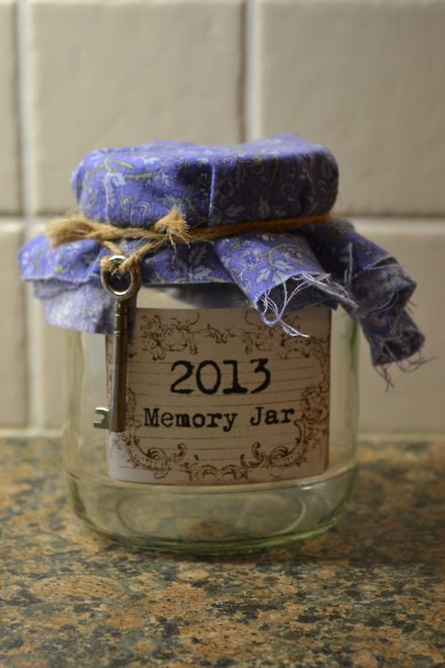 """The whole objective is to take an empty jar and throughout 2013, you write down anything good that's happened, or pictures, tickets and drawings, and on new years eve, empty it out and see all the wonderful memories from the year."""