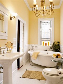bathroomWall Colors, Bathroom Design, Cottages Style, Yellow Wall, Yellow Bathroom, Pocket Doors, Bathroom Ideas, Stained Glass, Design Bathroom