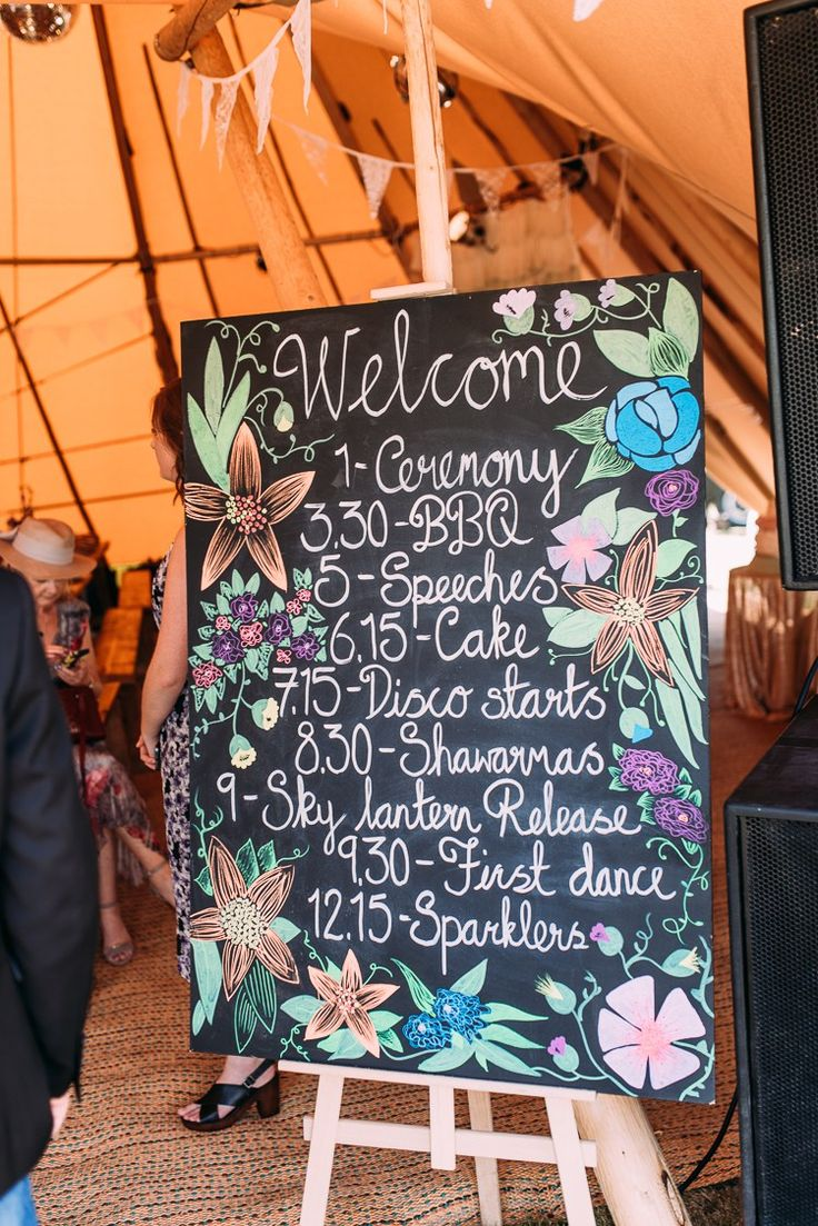 Welcome Sign Chalk Black Board Floral Creative Festival Tipi Wedding http://www.annapumerphotography.com/